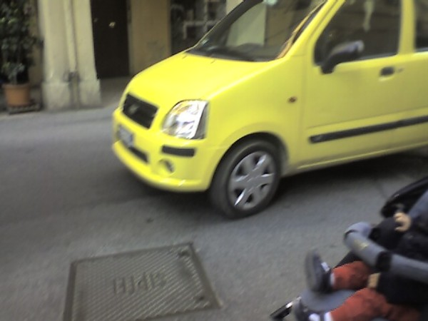 Yet another speeding car cuts off a baby stroller.