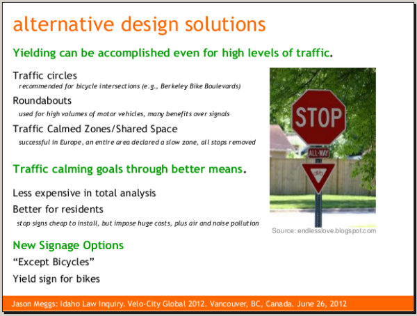 A slide from the Rolling Stops presentation: some of the many ways to minimize the impact of stop signs on bicyclists, for whom they were never intended.